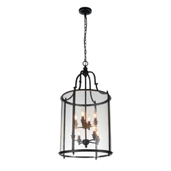 "33"" Lantern Contemporary Rubbed Oil Bronze Two Tier Round Foyer Chandelier 8 Lights"