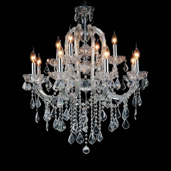 "Picture of 34"" 12 Light Up Chandelier with Chrome finish"