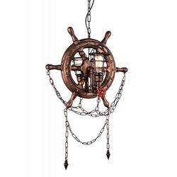 """34"""" 2 Light Up Chandelier with Speckled copper finish"""