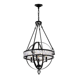 """34"""" 4 Light  Chandelier with Black finish"""