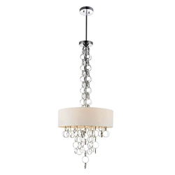 """34"""" 4 Light Drum Shade Chandelier with Chrome finish"""