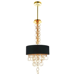 """34"""" 4 Light Drum Shade Chandelier with Gold finish"""