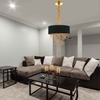 """Picture of 34"""" 4 Light Drum Shade Chandelier with Gold finish"""