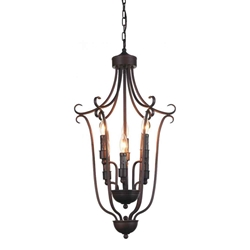 "34"" 6 Light Up Chandelier with Oil Rubbed Brown finish"