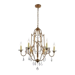 "34"" 6 Light Up Chandelier with Oxidized Bronze finish"