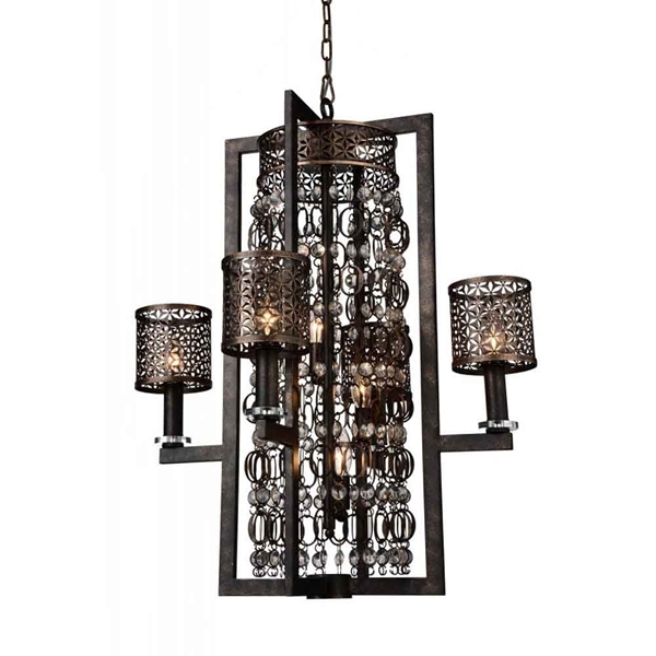 """Picture of 34"""" 8 Light Up Chandelier with Golden Bronze finish"""
