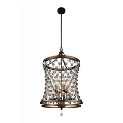 """34"""" 8 Light Up Chandelier with Speckled Bronze finish"""