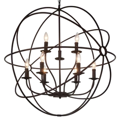 """34"""" 9 Light Up Chandelier with Brown finish"""