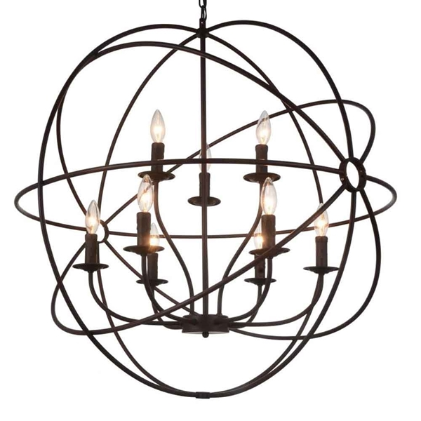 "Picture of 34"" 9 Light Up Chandelier with Brown finish"