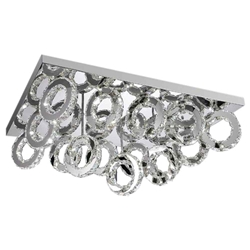 "34"" Anelli Modern Crystal Rectangular Flush Mount Polished Chrome 90 LED Lights"
