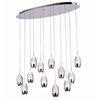 "Picture of 34"" Bolle Modern Chrome Coated Crystal Elliptical Mini Pendants Oval Base 12 Lights"
