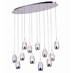"34"" Bolle Modern Chrome Coated Crystal Elliptical Mini Pendants Oval Base 12 Lights"