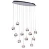 """Picture of 34"""" Bolle Modern Chrome Coated Crystal Spherical Mini Pendants Oval Base 12 Lights"""