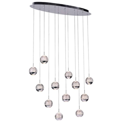 "34"" Bolle Modern Chrome Coated Crystal Spherical Mini Pendants Oval Base 12 Lights"