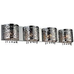 "34"" Web Modern Laser Cut Crystal Rectangular (R) Vanity Light Stainless Steel 4 Lights"