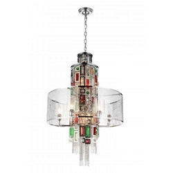 """35"""" 11 Light Drum Shade Chandelier with Chrome finish"""