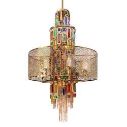 """35"""" 11 Light Drum Shade Chandelier with Gold finish"""
