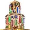 "Picture of 35"" 11 Light Drum Shade Chandelier with Gold finish"
