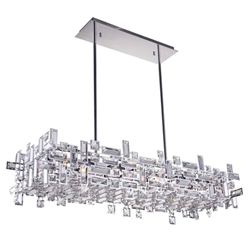 "35"" 12 Light Island Chandelier with Chrome finish"