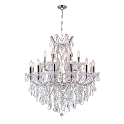 "35"" 19 Light Up Chandelier with Chrome finish"