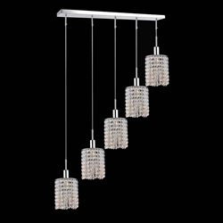 "35"" 5 Light Multi Light Pendant with Chrome finish"