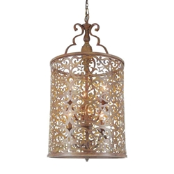 """35"""" 6 Light Drum Shade Chandelier with Brushed Chocolate finish"""