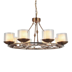 """35"""" 8 Light Candle Chandelier with Satin Nickel finish"""