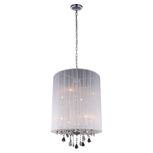 "Picture of 35"" 8 Light Drum Shade Chandelier with Chrome finish"