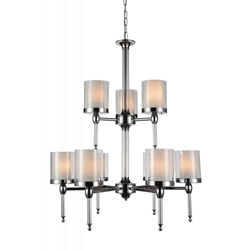 """35"""" 9 Light Candle Chandelier with Chrome finish"""