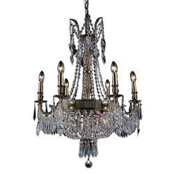 "35"" Caro Traditional Crystal Round Chandelier Antique Brass 9 Lights"