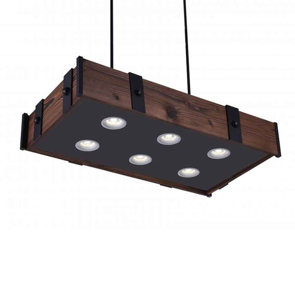 "Picture of 35"" LED Drum Shade Island Light with Black & Wood finish"