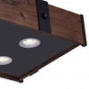 """Picture of 35"""" LED Drum Shade Island Light with Black & Wood finish"""
