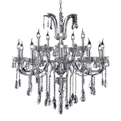 """35"""" Vittoria Traditional Crystal Candle Round Chandelier Polished Chrome 15 Lights"""