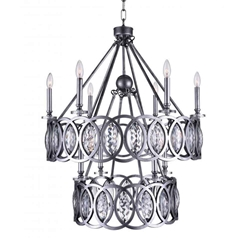 """36"""" 10 Light Candle Chandelier with Gun Metal finish"""
