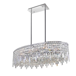 "36"" 10 Light Down Chandelier with Chrome finish"