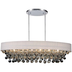 """36"""" 10 Light Drum Shade Chandelier with Chrome finish"""