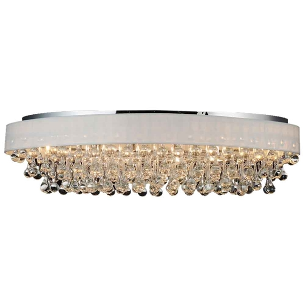 "Picture of 36"" 10 Light Drum Shade Flush Mount with Chrome finish"