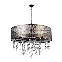 "36"" 10 Light Up Chandelier with Golden Bronze finish"