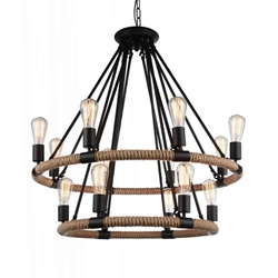 """36"""" 14 Light Up Chandelier with Black finish"""