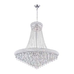 "36"" 18 Light Down Chandelier with Chrome finish"
