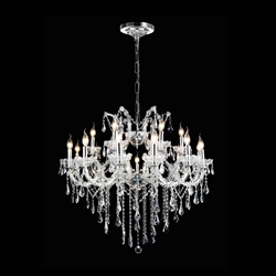 "36"" 19 Light Up Chandelier with Chrome finish"