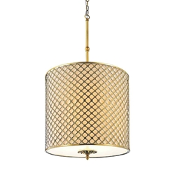 "36"" 4 Light Drum Shade Chandelier with French Gold finish"
