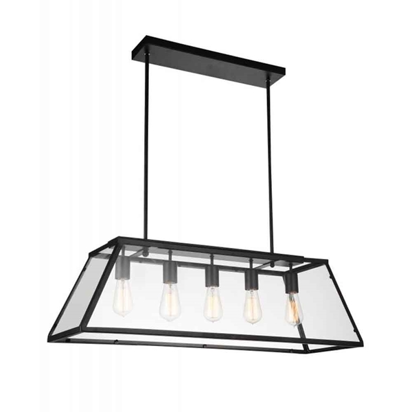 "Picture of 36"" 5 Light Down Chandelier with Black finish"
