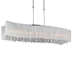 """36"""" 6 Light Drum Shade Chandelier with Chrome finish"""