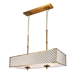 "36"" 6 Light Drum Shade Chandelier with French Gold finish"