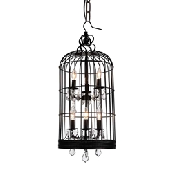 """36"""" 6 Light Up Chandelier with Black finish"""