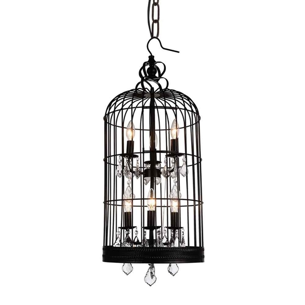 """Picture of 36"""" 6 Light Up Chandelier with Black finish"""