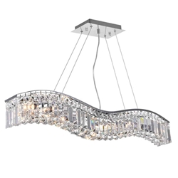"36"" 7 Light Down Chandelier with Chrome finish"