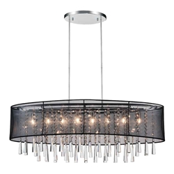 "36"" 8 Light Drum Shade Chandelier with Chrome finish"