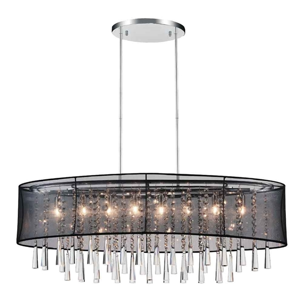 "Picture of 36"" 8 Light Drum Shade Chandelier with Chrome finish"